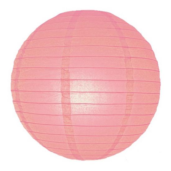Roze ronde lampion 25 cm