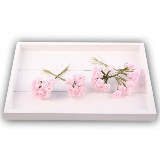 Roze satijnen roosjes 12 cm