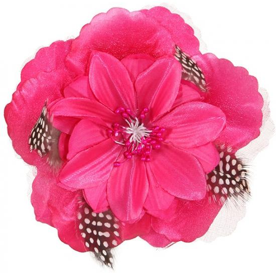 Roze tropische bloem met clip