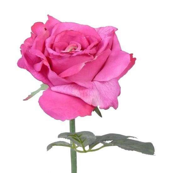 Roze zijden roos 31 cm