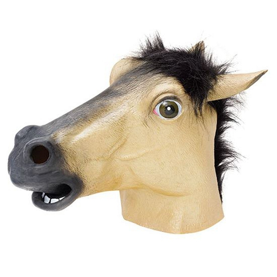 Rubber masker beige paarden kop