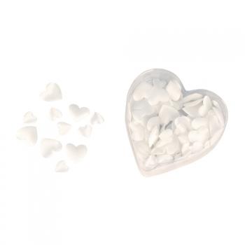 Satijnen hart strooiblaadjes wit