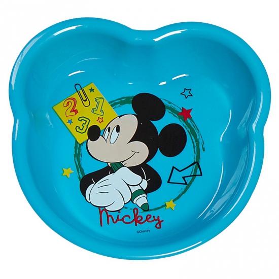 Schaaltje lichtblauw met plaatjes van Mickey Mouse 16 cm