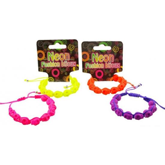 Schedel armbandje in neon kleuren