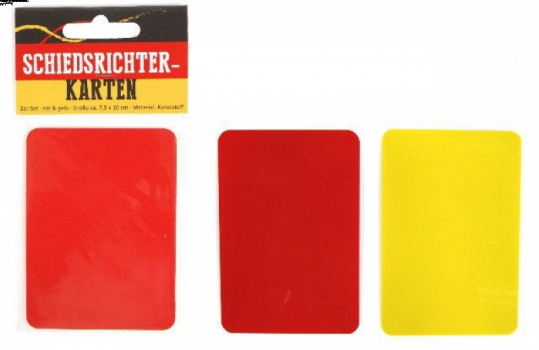 Scheidsrechter kaarten rood en geel