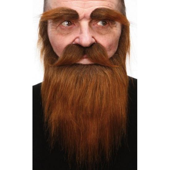 Set met baard  snor en wenkbrauwen bruin