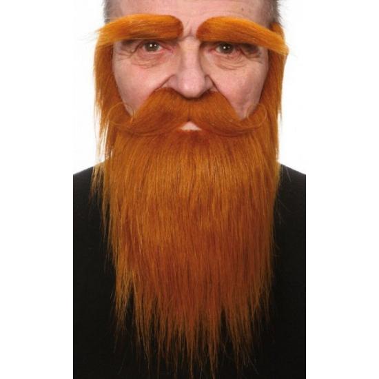Set met baard  snor en wenkbrauwen rood