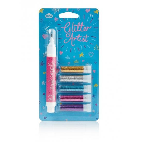 Setje van 5 glitter pennen licht