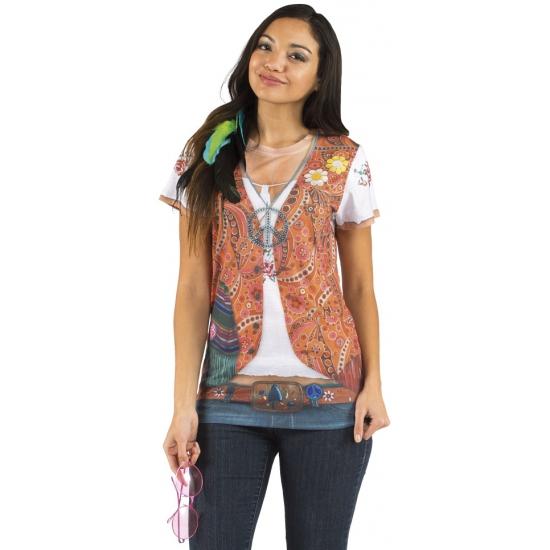 Shirt met hippie vrouw opdruk