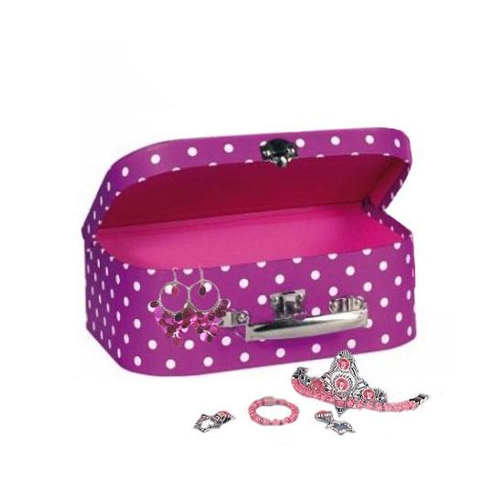 Sieraden opbergkoffer roze met stippen 25 cm
