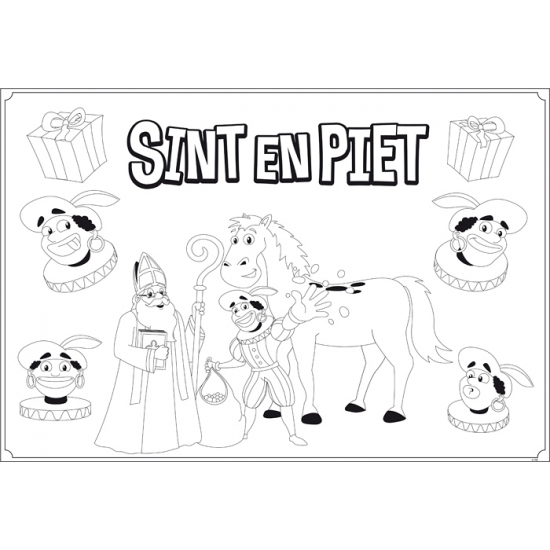 Sinterklaas kleurplaat feest placemats 6 stuks