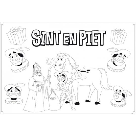 Sinterklaas kleurplaat placemats 6 stuks