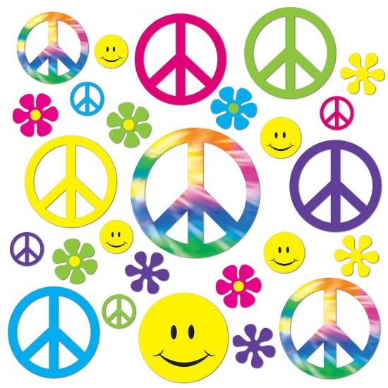 Sixties peace decoratie 42 delig