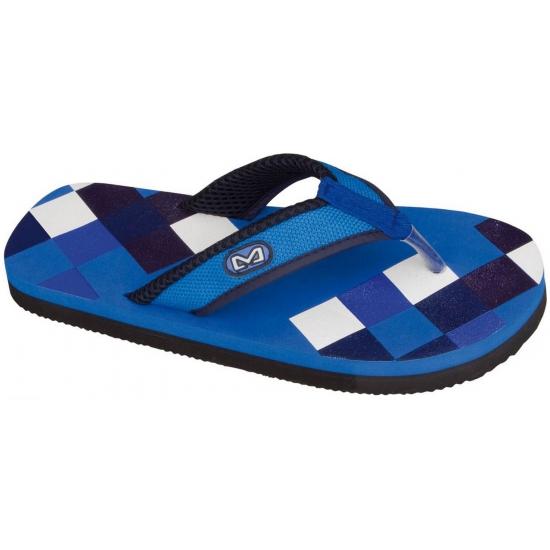 Slippers met blauwe print