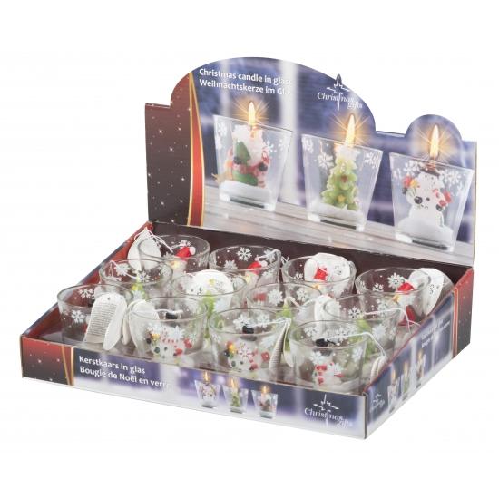 Sneeuwpop decoratie kaarsje in glas 6,5 cm
