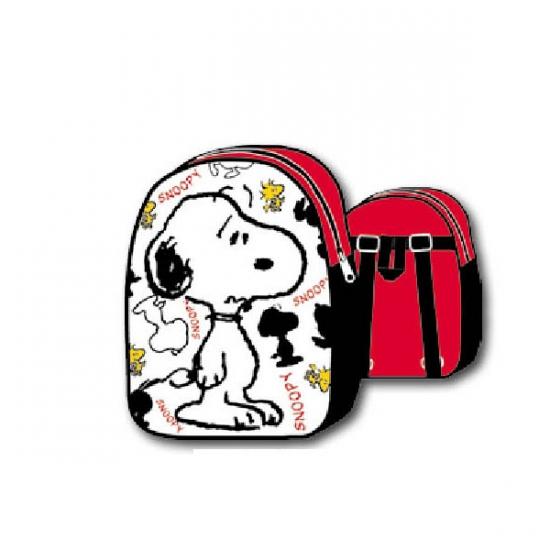Snoopy schooltasje wit met rood
