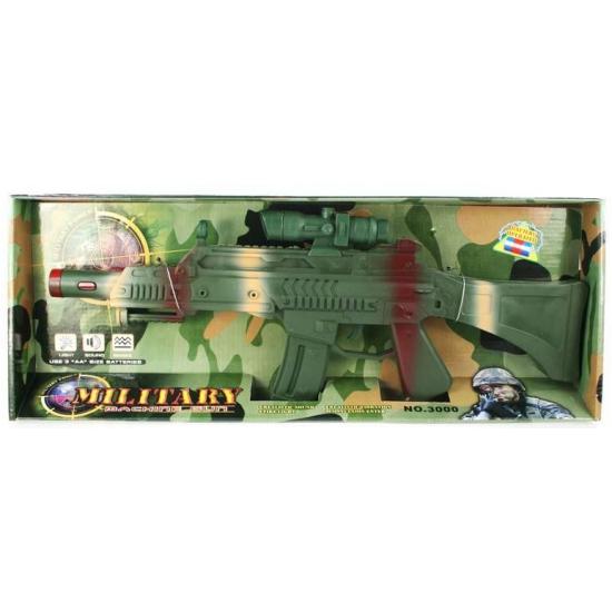 Speelgoed camouflage machinegeweer met trilfunctie