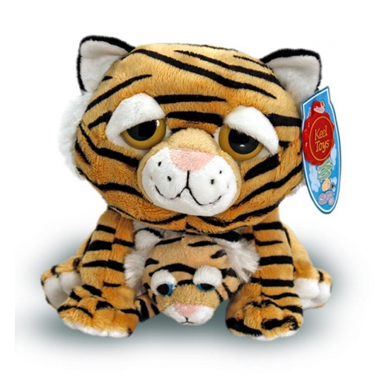 Speelgoed knuffel tijger met baby 25 cm
