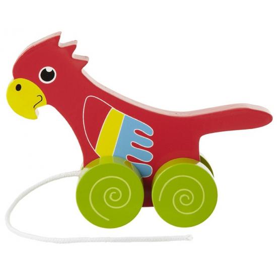 Speelgoed papagaai trekdier 13 cm