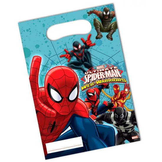 Spiderman thema uitdeelzakjes 6 stuks
