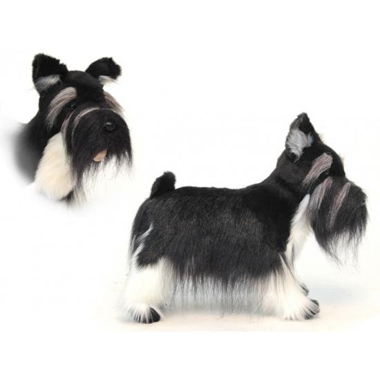 Staande pluche Schnauzer hond 45 cm