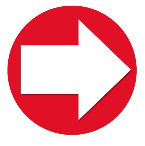 Sticker pijl rood met wit