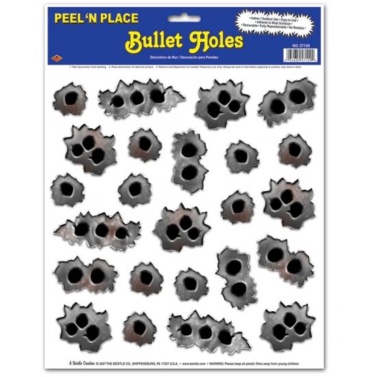 Stickervellen met kogelgaten