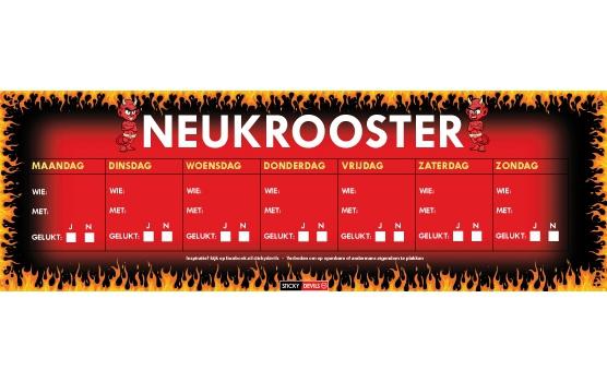 Sticky Devil stickers tekst Neukrooster, per week