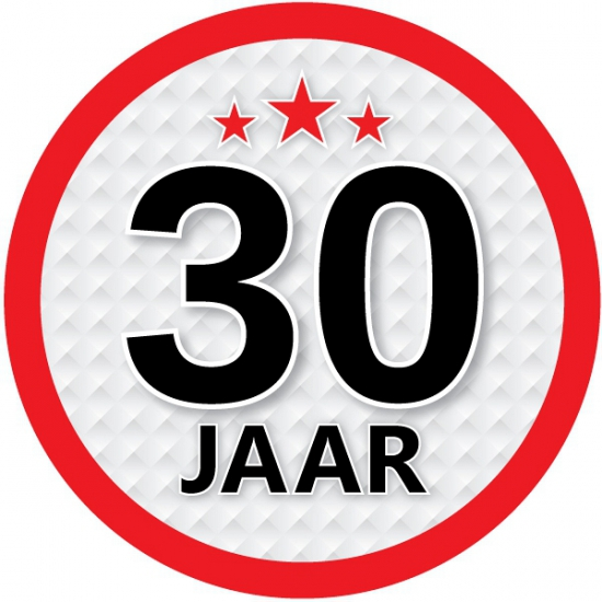 Stopbord sticker 30 jaar