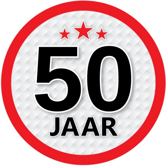 Stopbord sticker 50 jaar