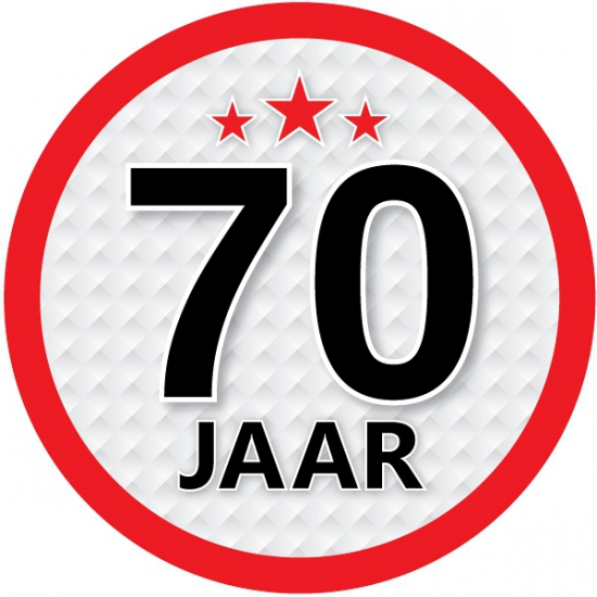 Stopbord sticker 70 jaar