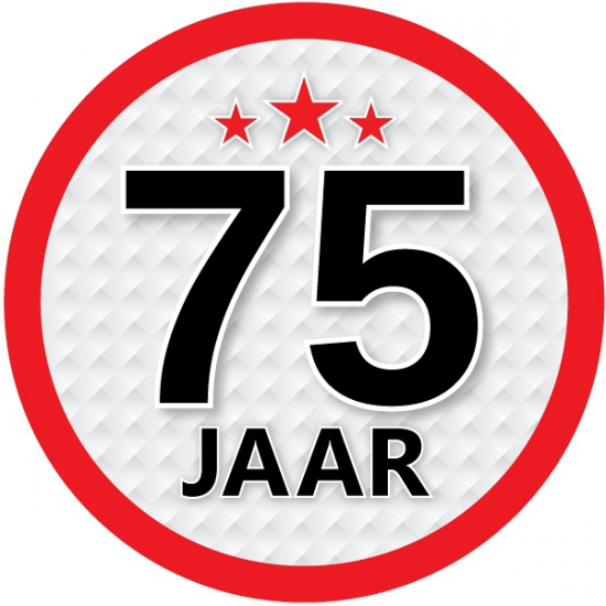Stopbord sticker 75 jaar