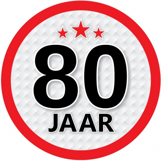 Stopbord sticker 80 jaar