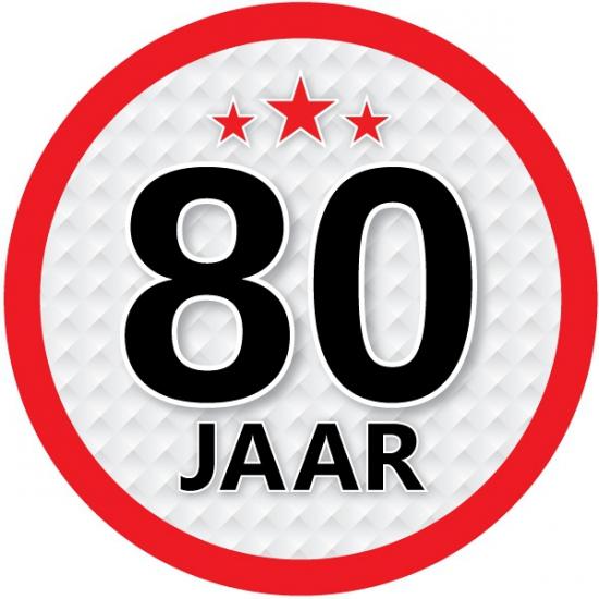 Stopbord sticker 80 jaar