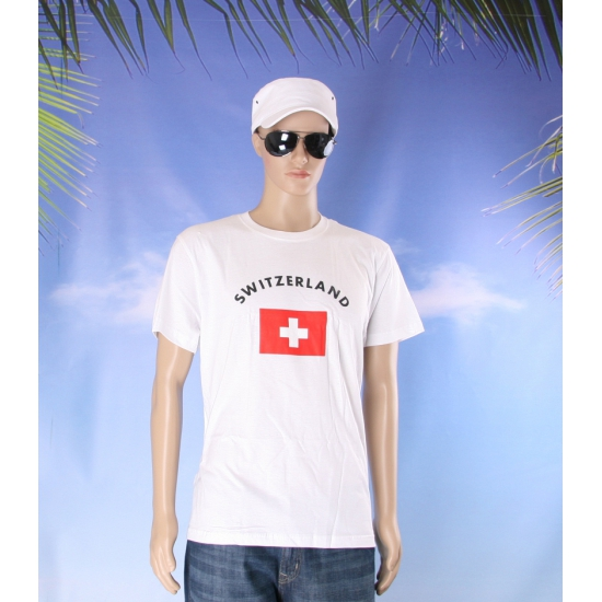 T shirts met vlag Zwitserse print