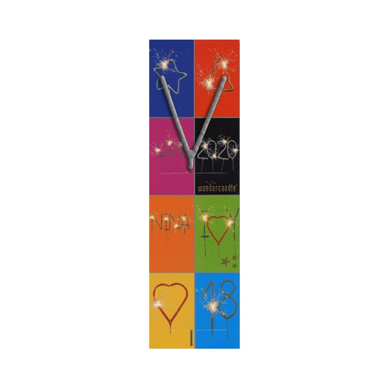 Taart sterretjes letter V van 7 cm