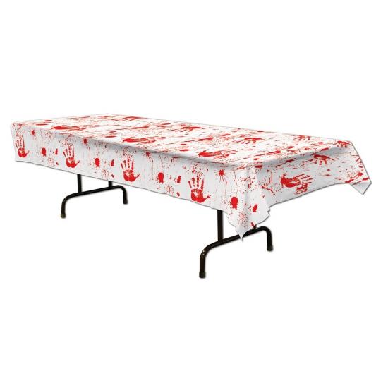 Tafelkleed met bloederige handafdrukken 275 x 135 cm