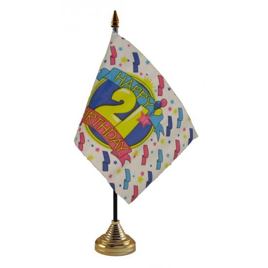 Tafelvlaggetje Happy Birthday 21 met standaard