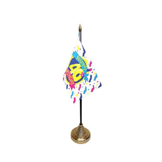Tafelvlaggetje Happy Birthday 40 met standaard