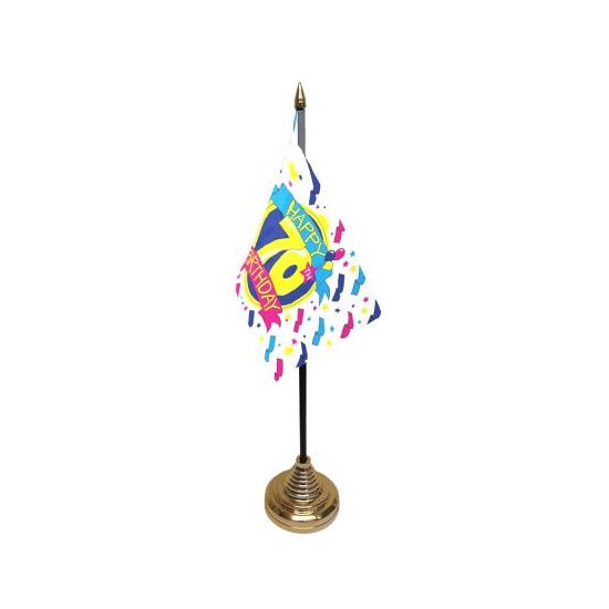 Tafelvlaggetje Happy Birthday 70 met standaard