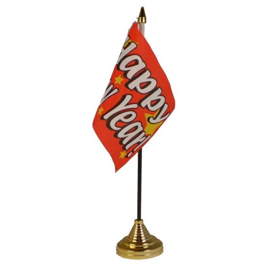 Tafelvlaggetje Happy New Year met standaard