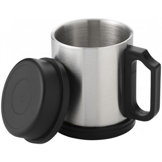 Thermos beker zilver zwart 330 ml
