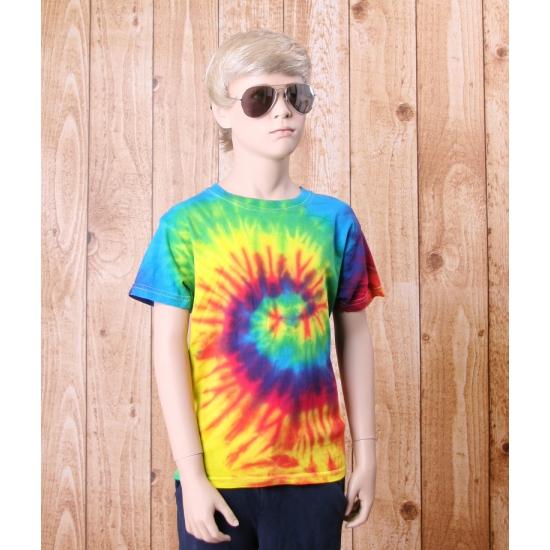 Tie dye t shirt regenboog voor kinderen