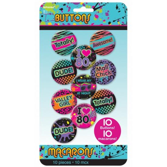 Tien eighties buttons