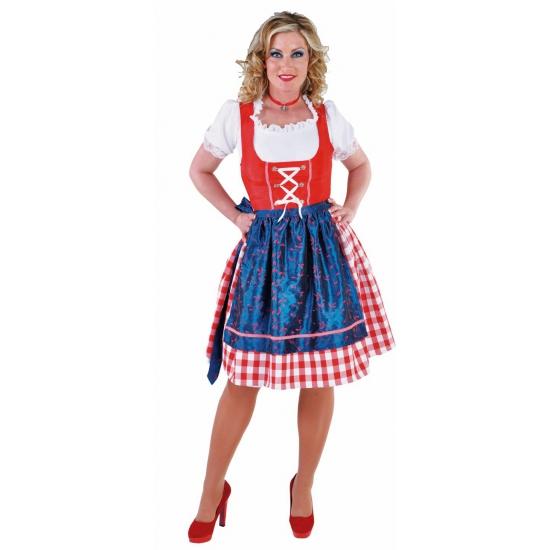 Tiroler dirndl jurkje rood blauw 3 delig