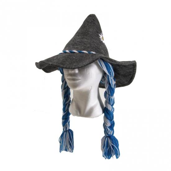 Tiroler hoed grijs met vlechten