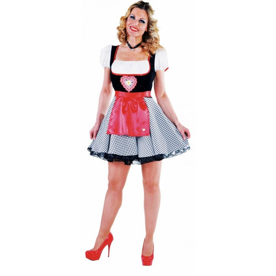 Tiroler jurkje zwart rood voor dames