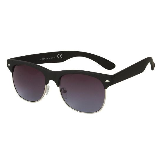 Trendy Clubmaster zonnebril mat zwart