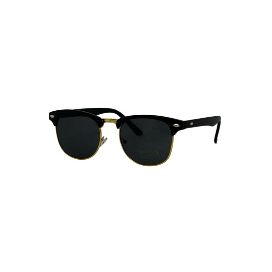 Trendy matzwarte zonnebril met goud randje