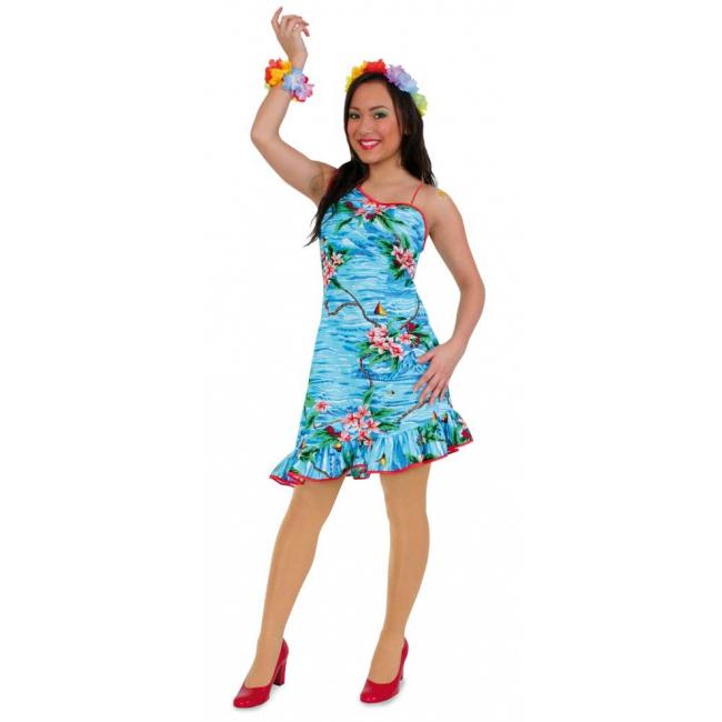 Tropische verkleedkleding hawaii jurkje